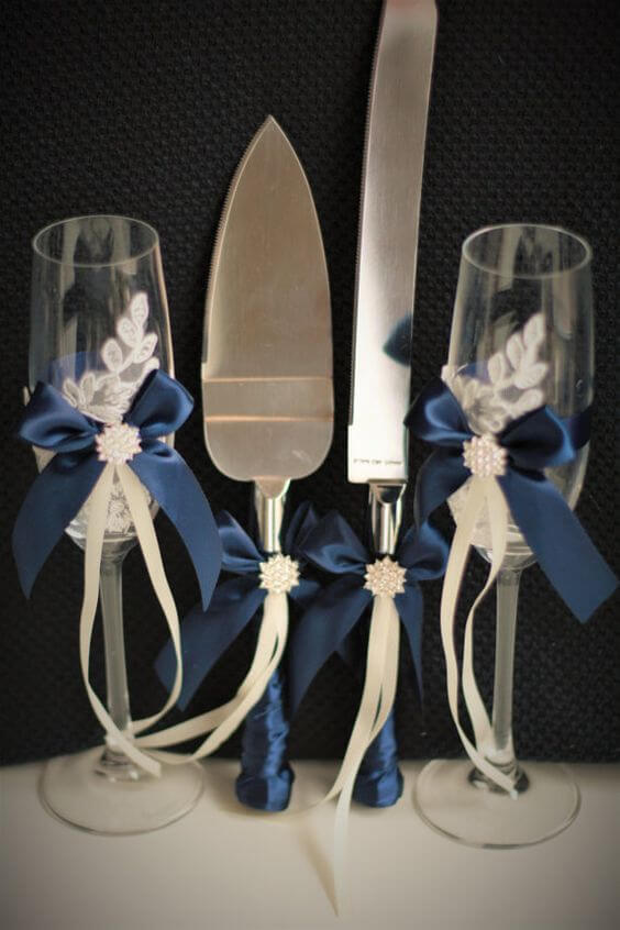 Wedding tableware for Navy blue and Champagne Winter wedding