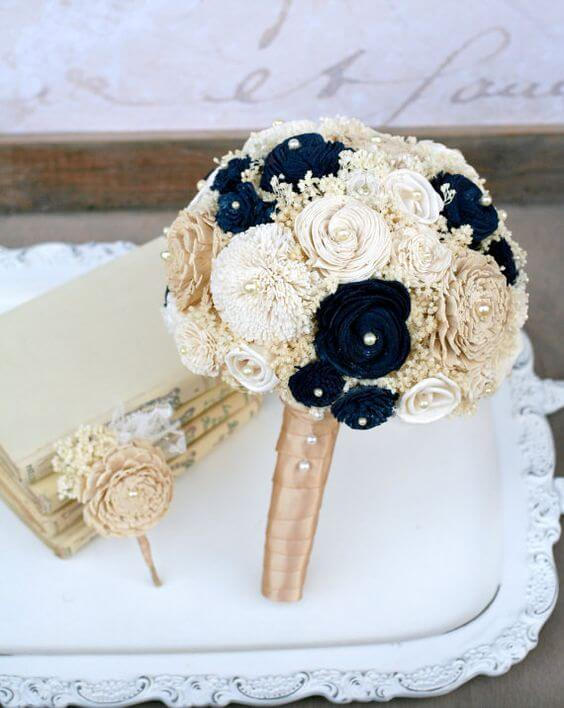 Wedding bouquets for Navy blue and Champagne Winter wedding