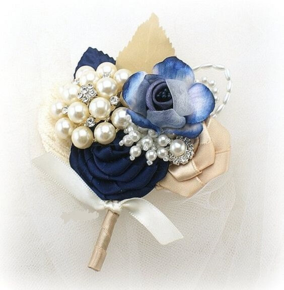 Wedding boutonniere for Navy blue and Champagne Winter wedding
