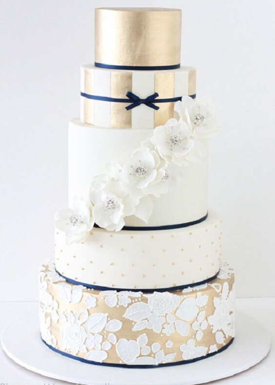 Wedding cake for Navy blue and Champagne Winter wedding