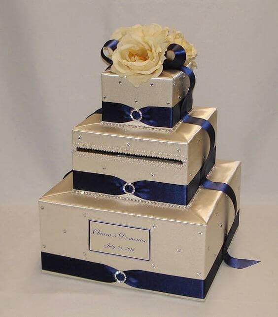 Wedding cake topper for Navy blue and Champagne Winter wedding