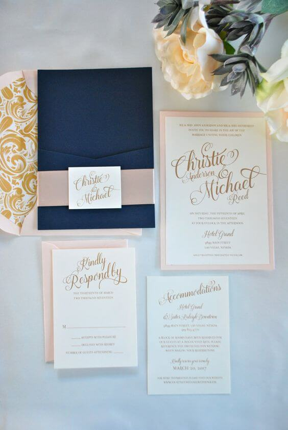 Wedding invitations for Navy blue and Champagne Winter wedding