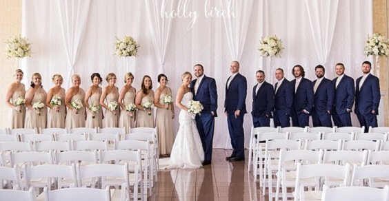 Wedding party for Navy blue and Champagne Winter wedding