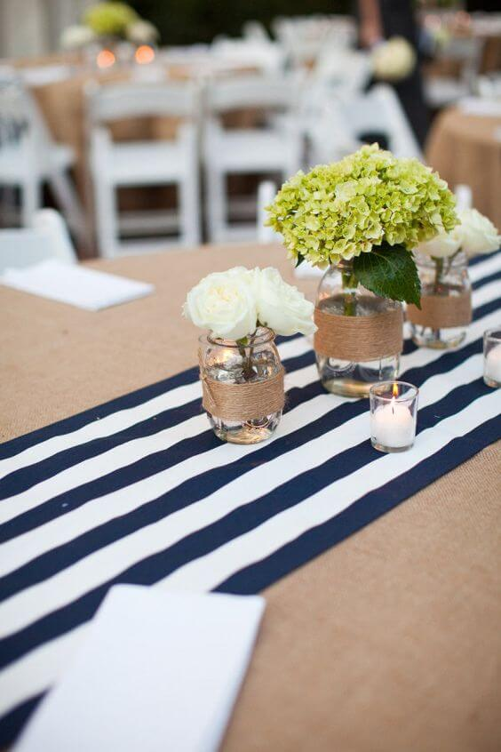 Wedding table decorations for Navy blue and Champagne Winter wedding