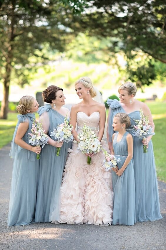 Blush Bride and dusty blue bridesmaids for Blush and dusty blue wedding