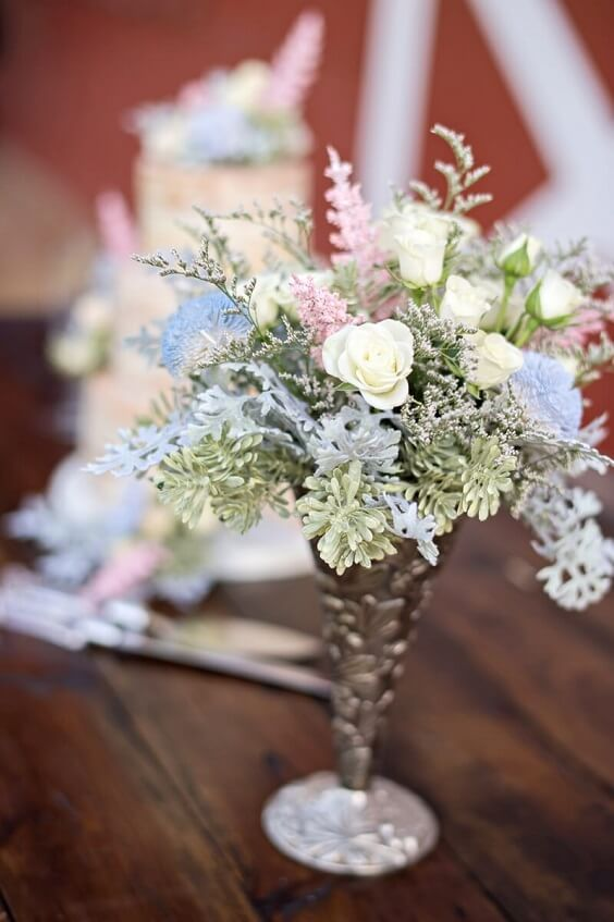 Centerpieces for Blush and dusty blue wedding