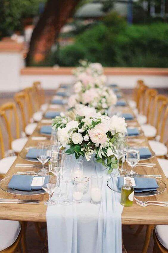 Wedding table decorations for Blush and dusty blue wedding