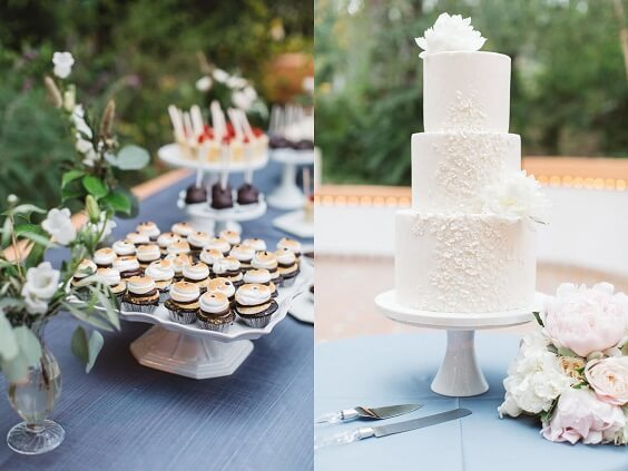 Wedding biscuits and wedding cakes for Blush and dusty blue wedding