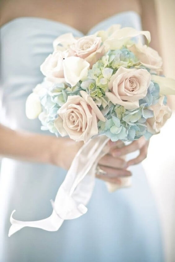 Wedding bouquets for Blush and dusty blue wedding