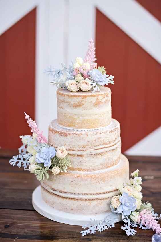 Wedding cakes for Blush and dusty blue wedding