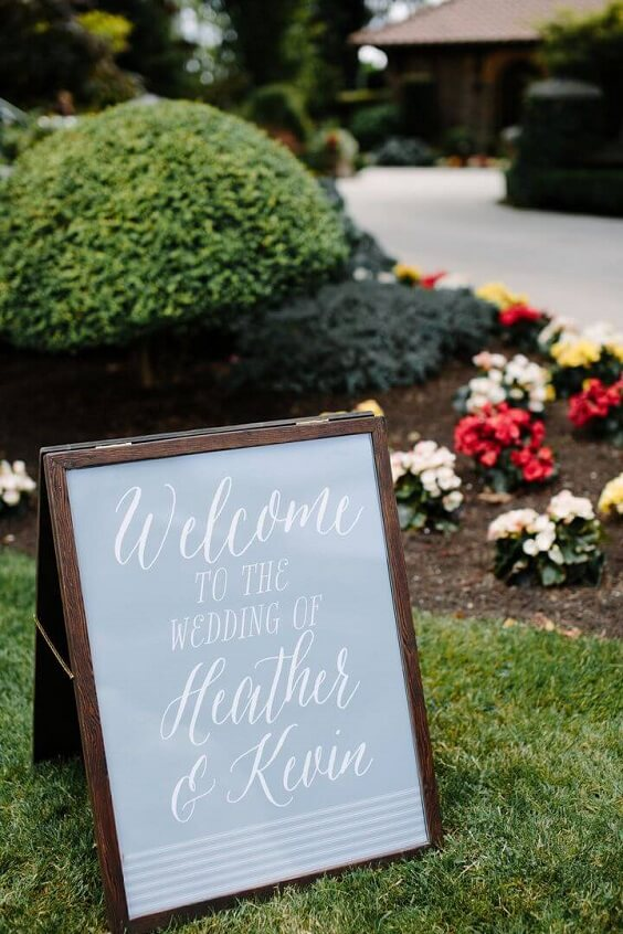 Wedding welcome sign for Blush and dusty blue wedding