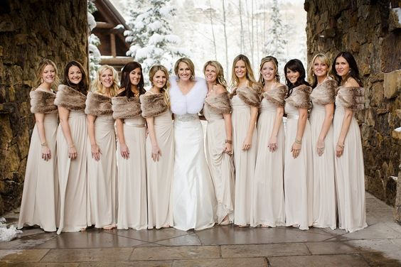 Cream Bridesmaid Dresses and Grey Fur Wrap for Neutral December Wedding