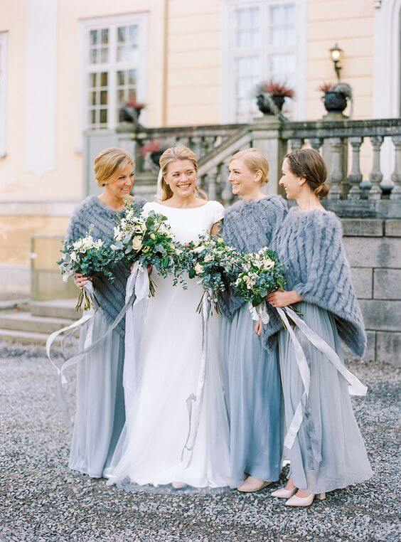 bridesmaid dresses for Dusty blue december wedding