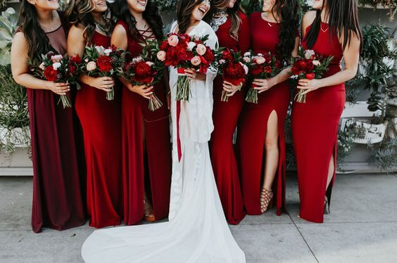 Bridesmaid dresses for red, green and white wedding