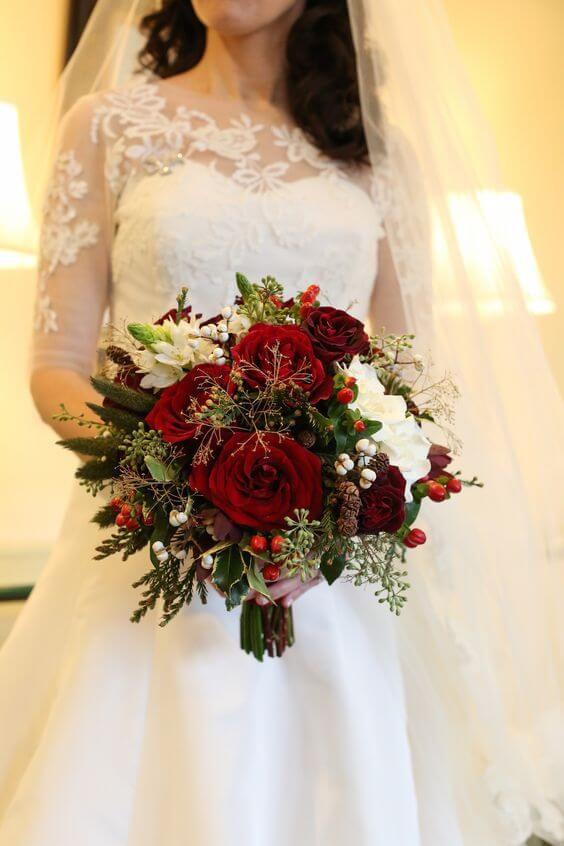 White bridal gown for red, green and white wedding