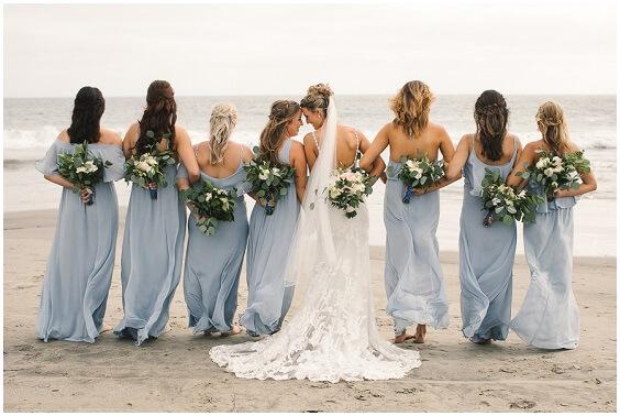 Dusty Blue bridesmaid dresses for Dusty Blue and Blush Beach wedding