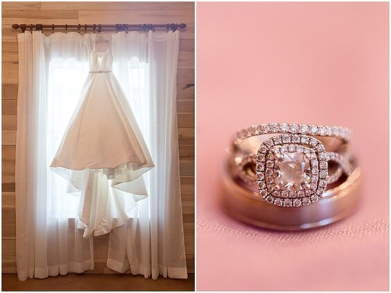 Bride gown and wedding rings for dusty rose and dusty blue wedding
