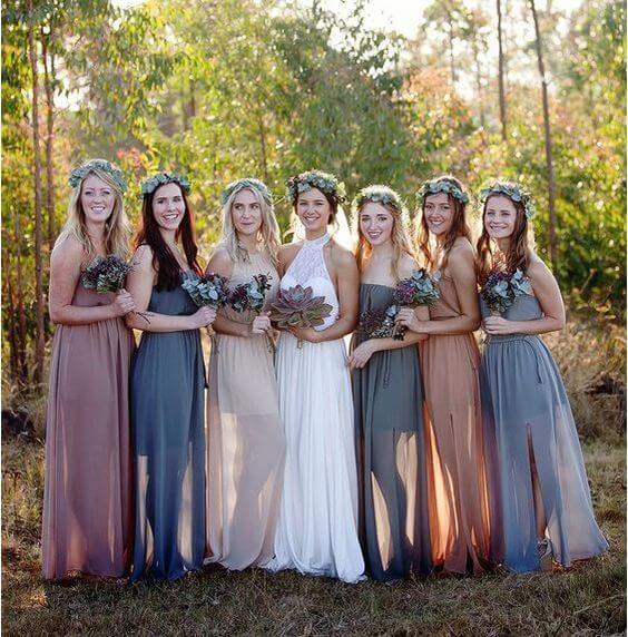 8c1a8e724a5c Dusty Rose and Dusty Blue Wedding, Mismatched Bridesmaid Dresses in ...