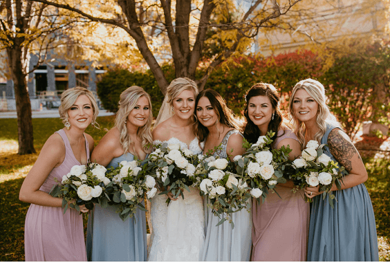 Bridesmaid dresses for dusty rose and dusty blue wedding