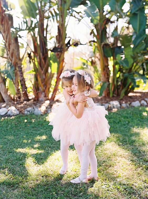 Flower girls for dusty rose and dusty blue wedding