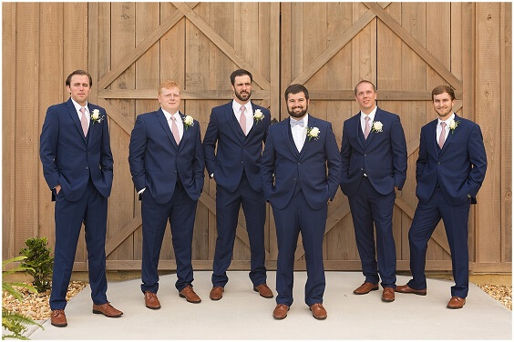 Navy blue suits with dusty rose tie for dusty rose and dusty blue wedding