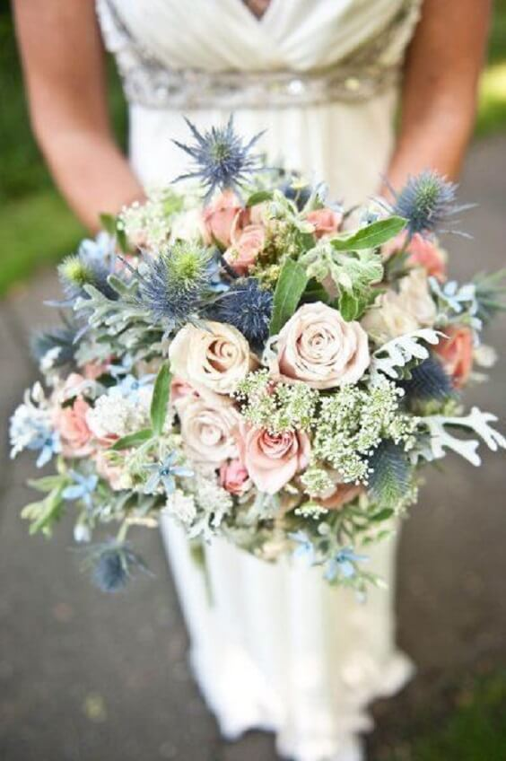 Wedding bouquets for dusty rose and dusty blue wedding