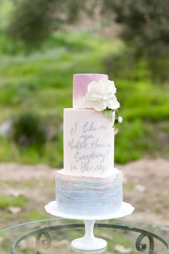 Wedding cakes for dusty rose and dusty blue wedding