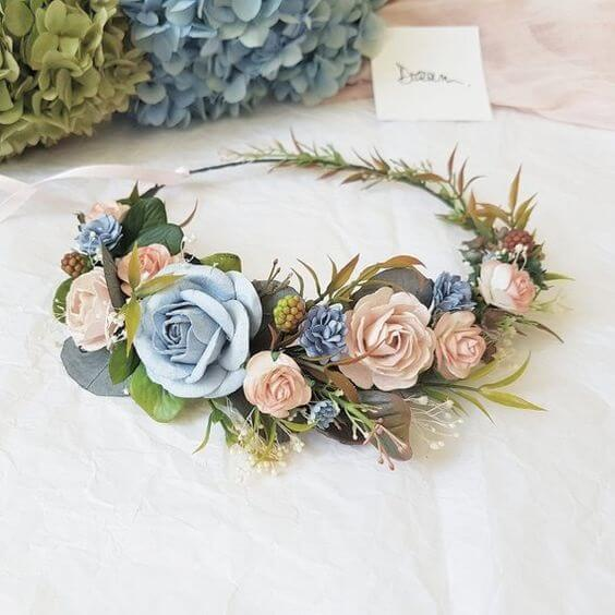 Wedding headpieces for dusty rose and dusty blue wedding