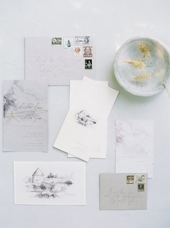 Wedding invitations for dusty rose and dusty blue wedding