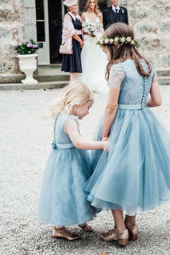 Flower girls for dusty blue March wedding