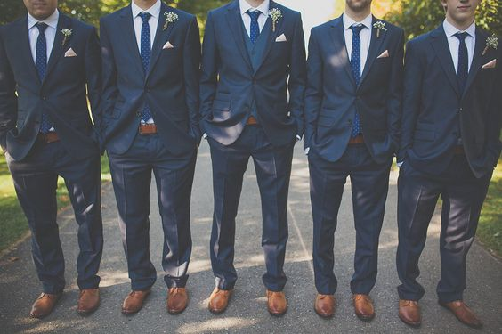 Groom and groomsmen for dusty blue March wedding