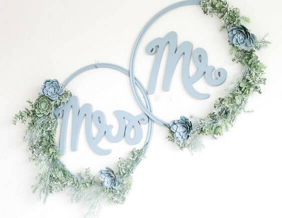 Wedding backdrops for dusty blue March wedding