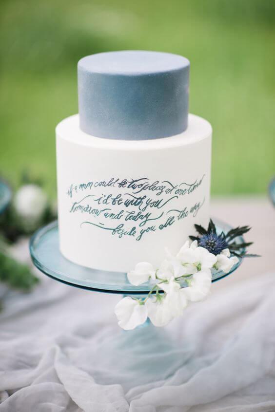 Wedding cake for dusty blue March wedding