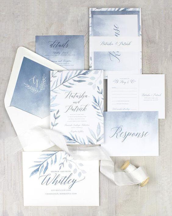 Wedding invitations for dusty blue March wedding