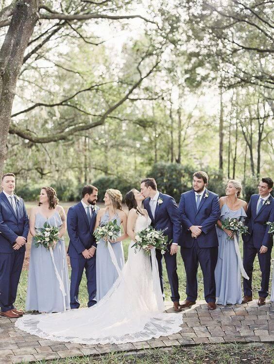 Wedding party for dusty blue March wedding