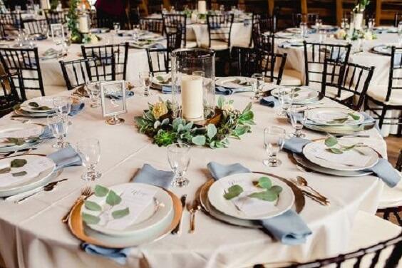 Wedding table decorations for dusty blue March wedding