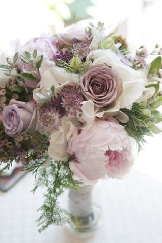 Wedding bouquet for Mauve March wedding