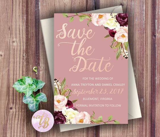 Wedding invitations for Mauve March wedding