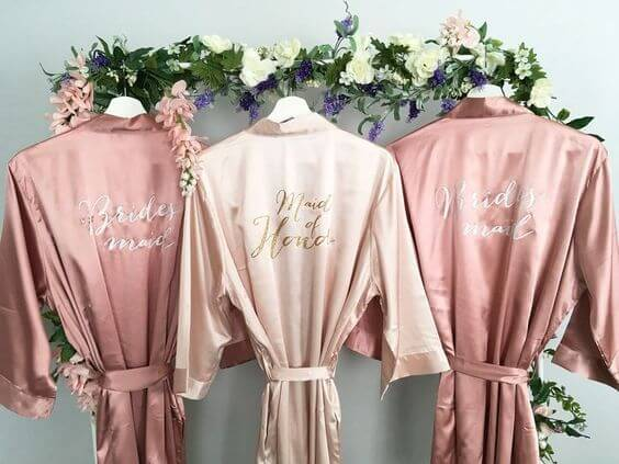 Wedding robes for Mauve March wedding