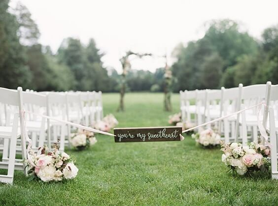 aisle decor for spring dusty rose wedding