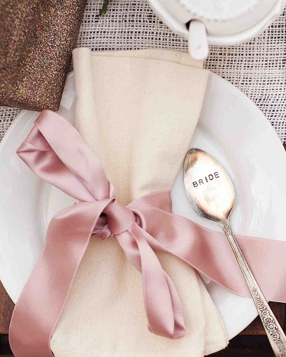 cream napkin with dusty rose ribbon for spring dusty rose wedding