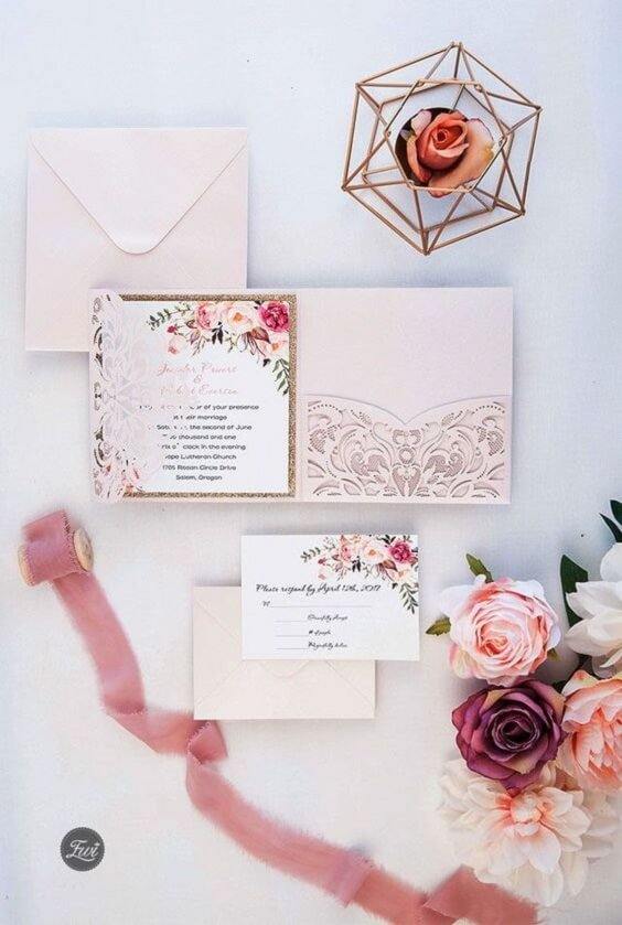 dusty rose and pale pink invitations for spring dusty rose wedding