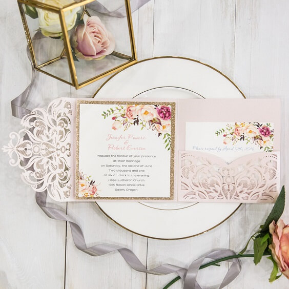 dusty rose and pale pink invitations for spring dusty rose wedding 2