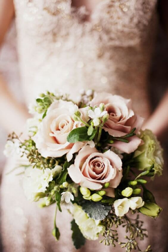 dusty rose bouquet with greenery for spring dusty rose wedding