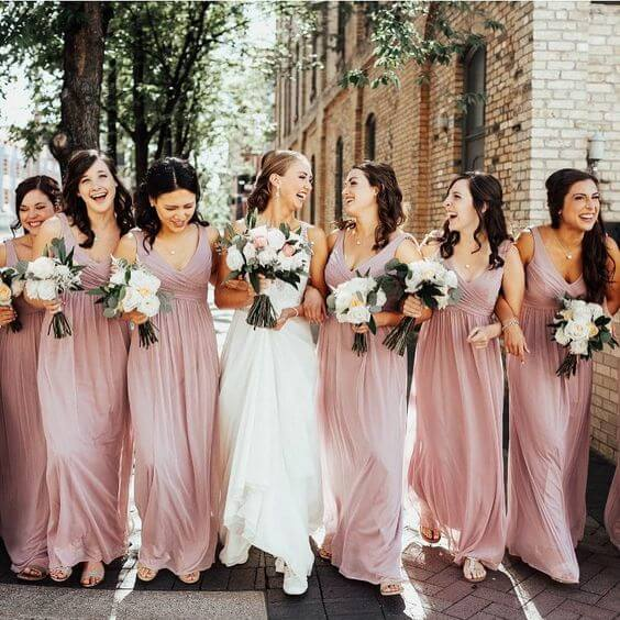 Spring Wedding - Dusty Rose Bridesmaid Dresses and Bouquets with Greenery