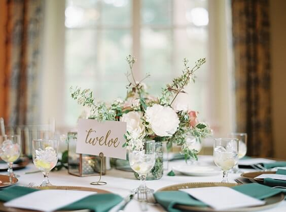 flower table centerpiece for spring dusty rose wedding