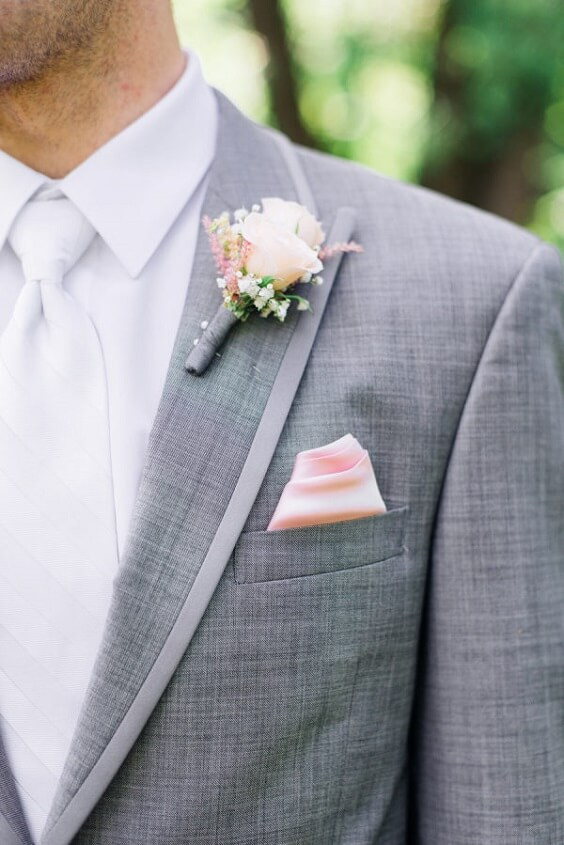 pale gray suit and pale pink corsage for spring dusty rose wedding