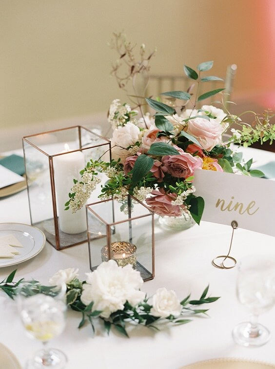 table number for spring dusty rose wedding
