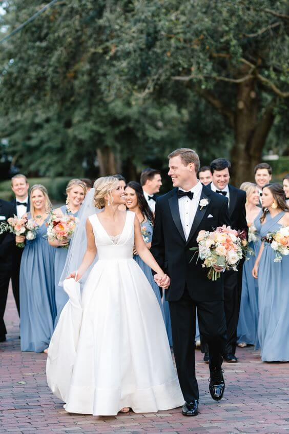 Cute Cornflower Blue And Peach Wedding Color Ideas