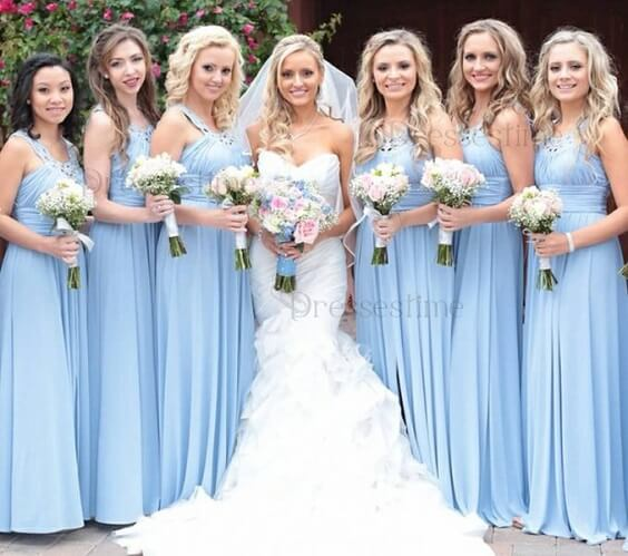 light blue bridesmaid dresses for fall light blue ivory and pastel pink wedding